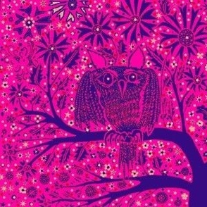Owl Tree hot pink purple