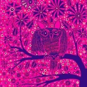 Owl Tree hot pink purple