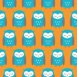 turquoise, orange and gray sleepy owls