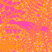 pink orange fern birds star snow