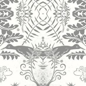 Bird and fern gray white