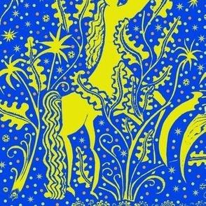 night garden yellow blue snow pony