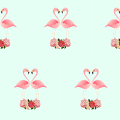 Flamingos and flowers
