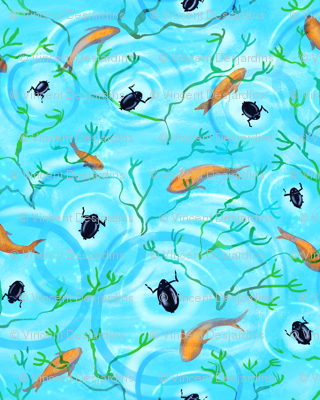 Whirligig Beetles and Goldfish