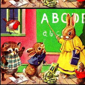 vintage retro classrooms schools students teachers pupils robins birds racoons rabbits bunnies bunny frogs toads mouse mice rats children animals