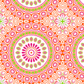 Pink, Orange and Green Kaleidoscope Flowers Design