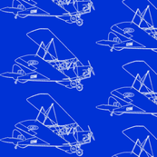 Bright Blue  Vintage Plane -Sketch