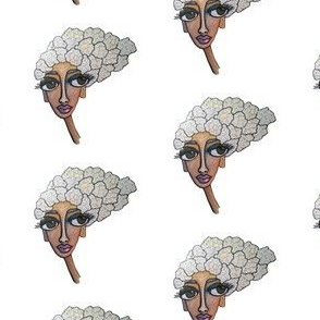 cauliflower girl on white