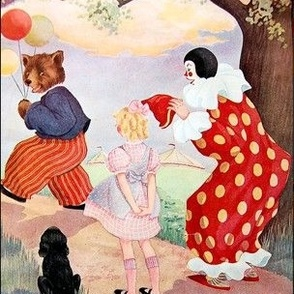 vintage kids retro kitsch bears balloons circus clowns girls dogs forests trees goldilocks children whimsical clouds