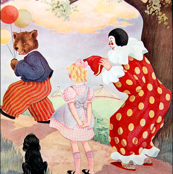 vintage retro kitsch bears balloons circus clowns girls dogs forests trees goldilocks children whimsical clouds