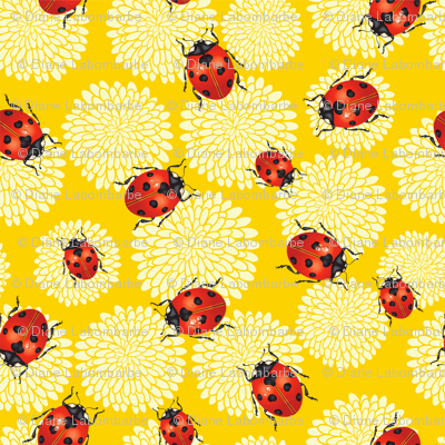 Cute Ladybug and Chrysanthemums