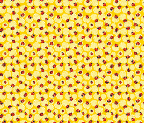 Cute Ladybug and Chrysanthemums fabric by diane555 on Spoonflower - custom fabric