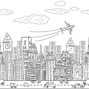 Cute Cartoon City Rows - Black and White