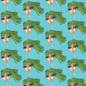 celery girl on teal