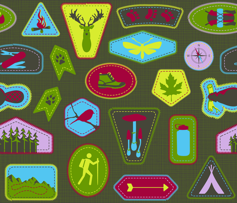 Julie's Hiking Badges fabric by juliesfabrics on Spoonflower - custom fabric