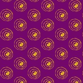 Spirals Gold on Purple