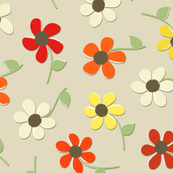 Whimsical Modern Flowers in Red, Rust, Orange, Yellow, Creme & Brown