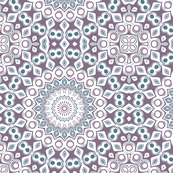 Purple, Blue & White Kaleidoscope Flowers Design