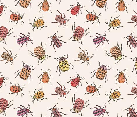 Pretty Beetles   Peach fabric by imaginaryanimal on Spoonflower - custom fabric