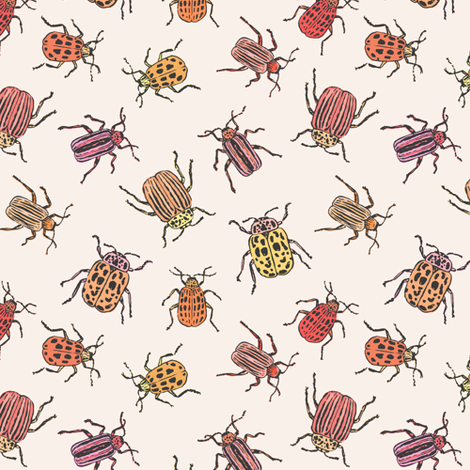 Pretty Beetles | Peach fabric by imaginaryanimal on Spoonflower - custom fabric
