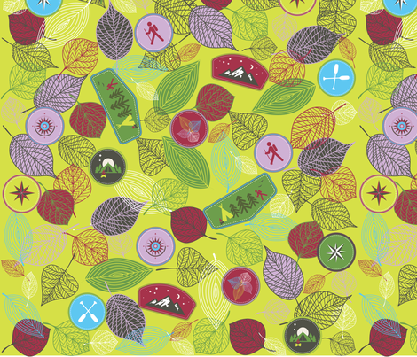 Badge of the wilderness_green fabric by pamela_hamilton on Spoonflower - custom fabric