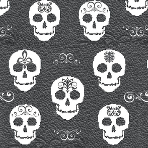 Skull White on Gray-