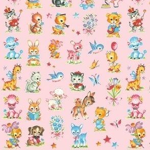 Best Baby animals pink! poodle dog duck deer giraffe donkey rabbit skunk squirl bluebird elephant teddy bear