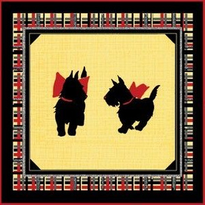 Two black Scottish Terrier on plaid