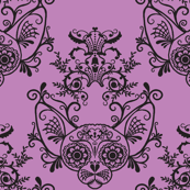 Sugar Skull Sphynx Cat Damask Purple