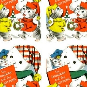 vintage kids retro kitsch cats kittens snowman hats christmas snow winter trees wreaths traditional children