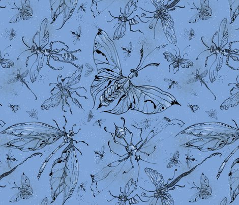 nightbug_blue large motif fabric by cathdonaldson on Spoonflower - custom fabric