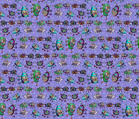 BEETLE MANIA Lavender ladybug scarab fabric by paysmage on Spoonflower - custom fabric