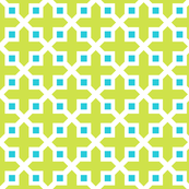 Cross Section Pattern Lime and Turquoise
