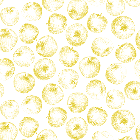 sketched apples in gold on white