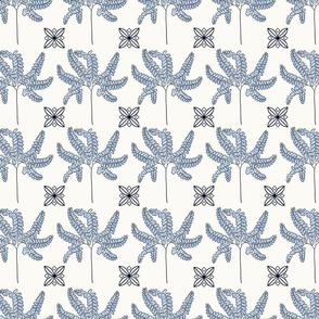 maidenhair fern blue and cream
