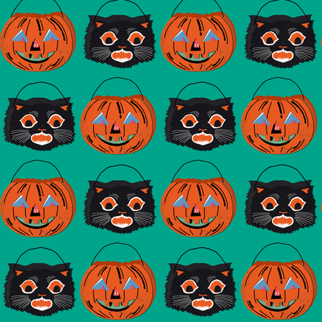 Treat Buckets on teal fabric by heidikenney on Spoonflower - custom fabric