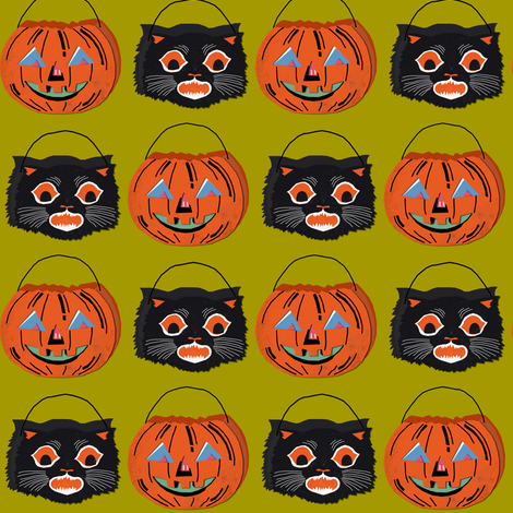 Treat Buckets on green fabric by heidikenney on Spoonflower - custom fabric