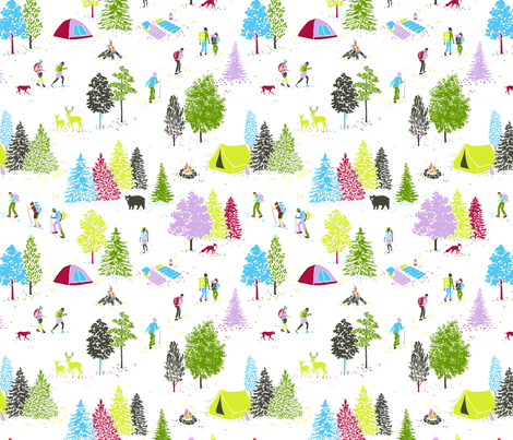 Hiking - White colorway fabric by alicke on Spoonflower - custom fabric