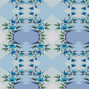 blue flowers embroidery cross stich