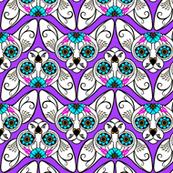 Purple Background Sugar Skull Sphynx Cat CHEVRONS