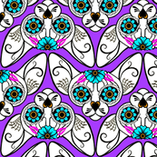 Sugar Skull Sphynx Cat CHEVRONS in Purple with Pink & Turquoise