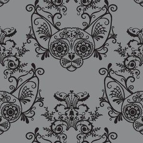 Sugar Skull Sphynx Cat Damask Grey