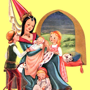 vintage fairy tales medieval princess prince queen mother daughters sons babies baby toddlers cats pets middle ages Tudor Edwardian family castles