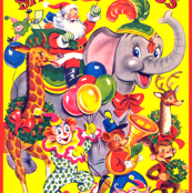 vintage retro kitsch santa claus animals circus clowns elephants reindeer monkeys pigs bears band giraffes balloons parade wreath christmas whimsical