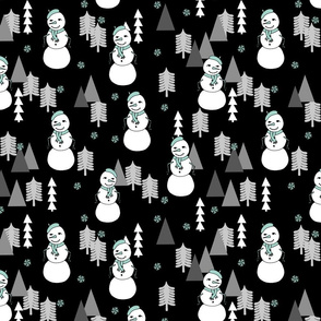 Snowman - Black/Pale Turquoise by Andrea Lauren