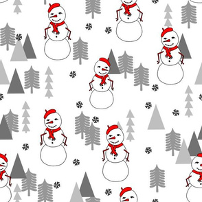 Snowman - White Background by Andrea Lauren