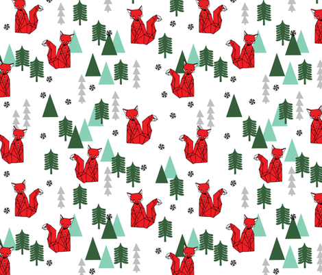 Christmas Fox - White background by Andrea Lauren
