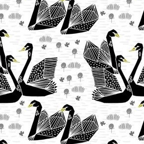swans // black and white swans girls sweet birds lily origami
