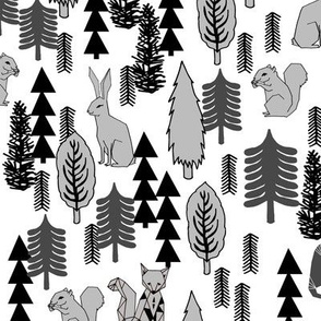 Woodland Christmas Trees - White by Andrea Lauren