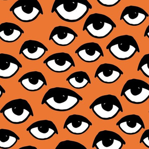 eyes // orange eye fabric spooky creepy halloween design